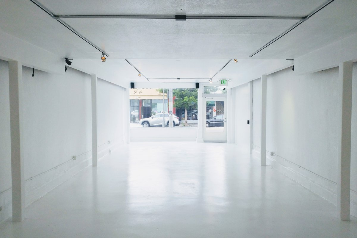 Storefront listing Gloss White Gallery Space on Fairfax Ave in Central LA, Los Angeles, United States.