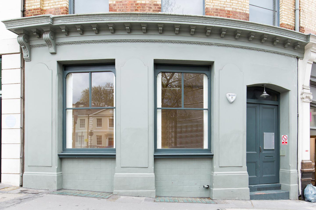 Storefront listing Smart Pop-Up Gallery in Farringdon in Clerkenwell, London, United Kingdom.