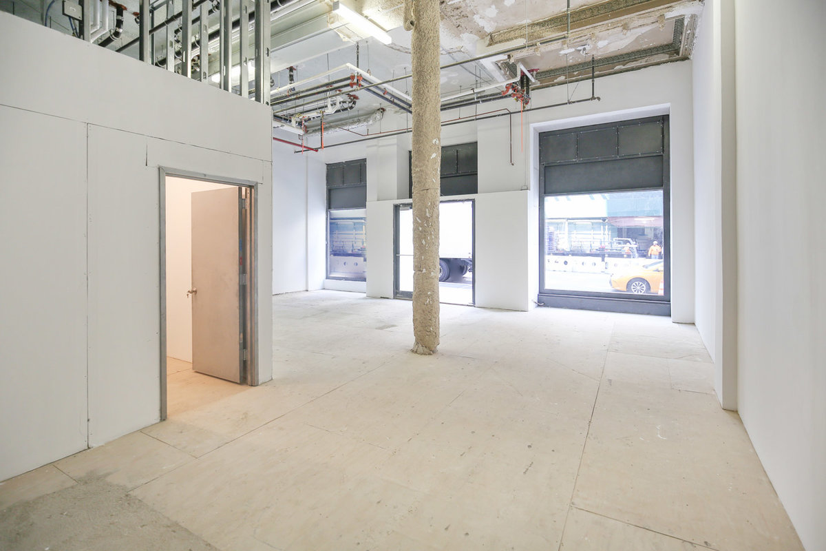 Storefront listing Pop-Up Space on Broadway in Lower Manhattan, New York, United States.