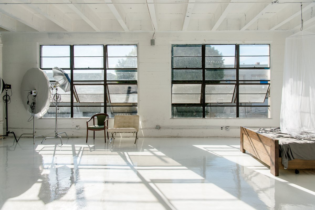 Storefront listing Airy studio space with High-Gloss White Floors, Los Angeles, United States.