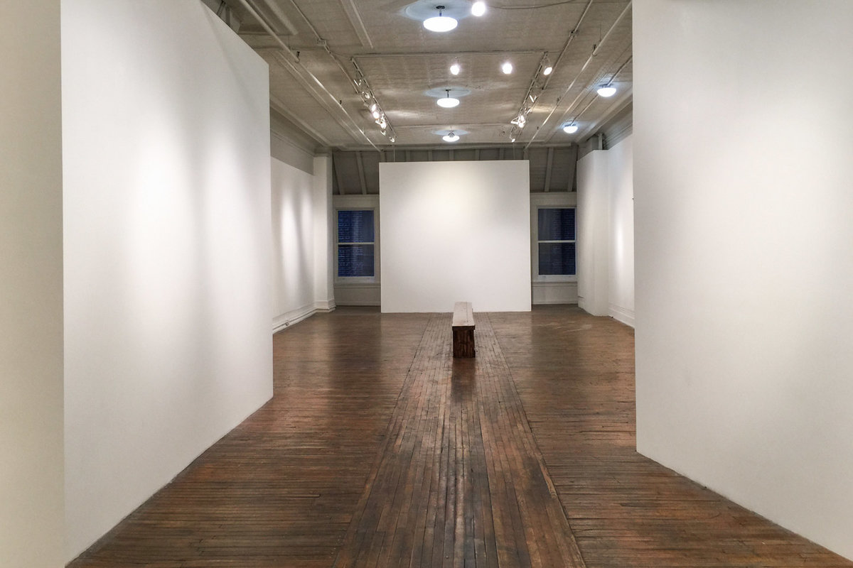 Storefront listing Flexible Art Space in Bowery in Lower Manhattan, New York, United States.