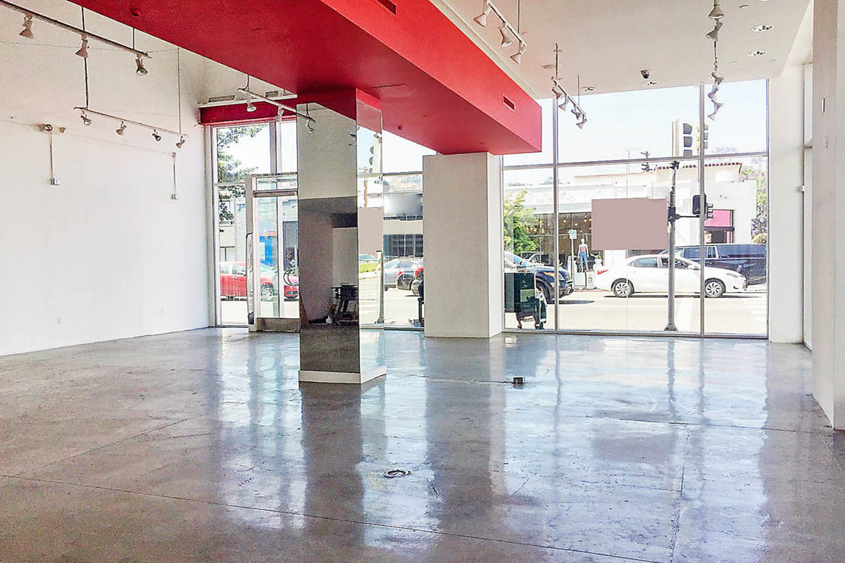 Storefront listing Pop-Up Space on Melrose Avenue in Melrose, Los Angeles, United States.