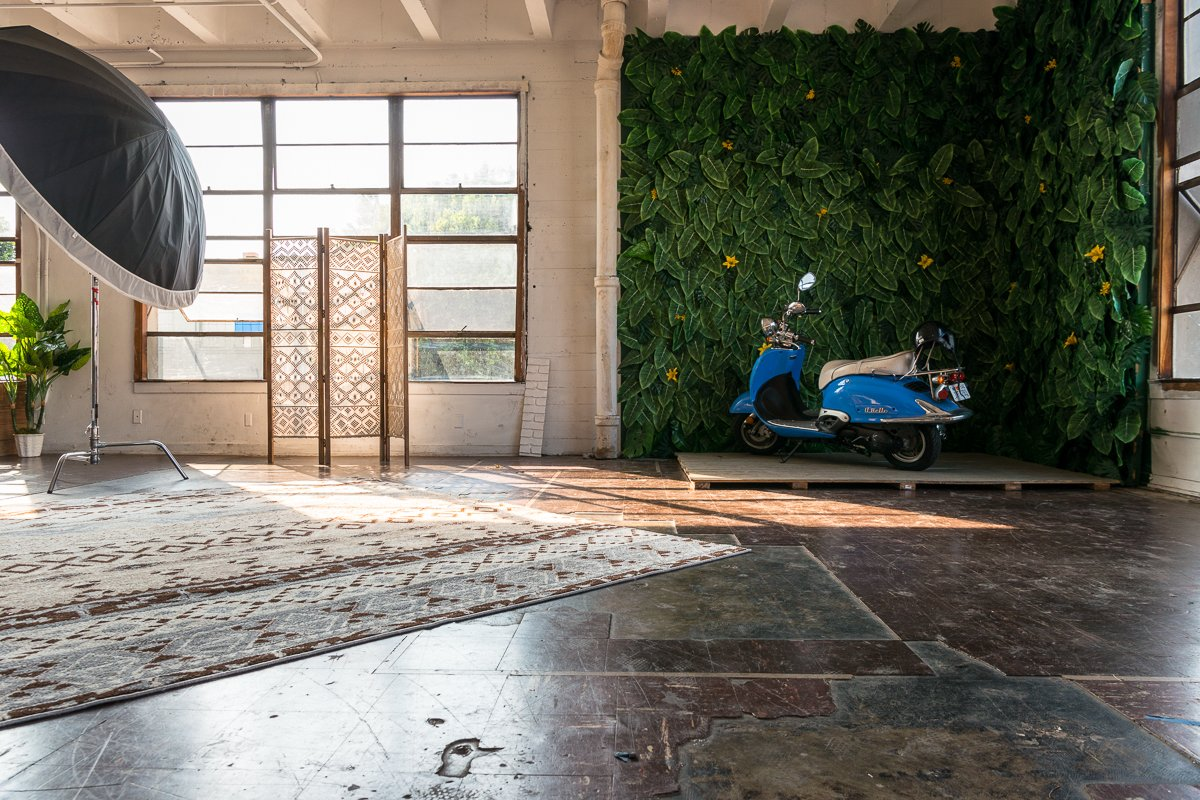 Storefront listing Jungle Themed Stage with Scooter, Los Angeles, United States.