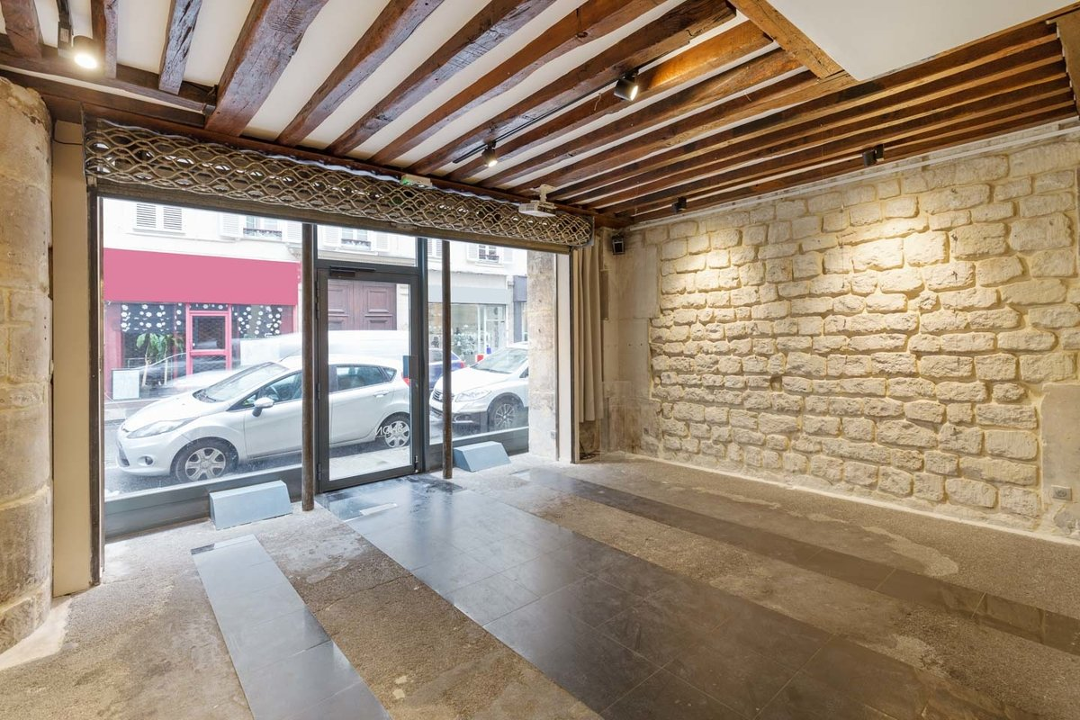 Storefront listing Exceptional Le Marais Retail Space in République, Paris, France.