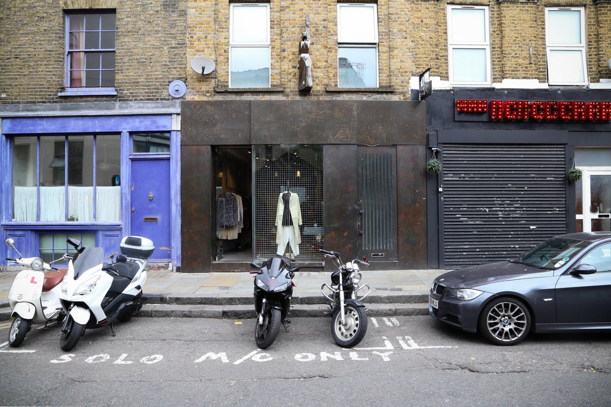 Storefront listing Redchurch Street boutique, London, United Kingdom.