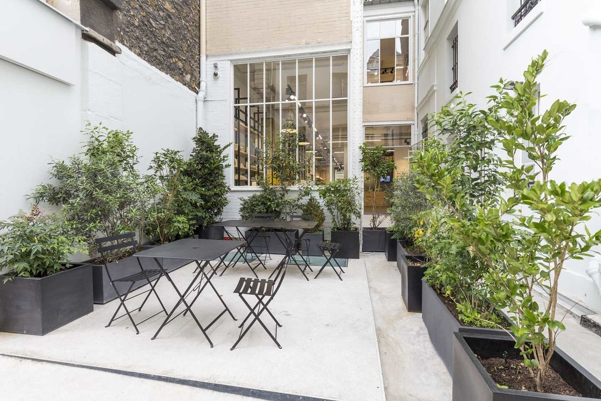 Storefront listing Terrace Event Space in Le Marais in Le Marais, Paris, France.