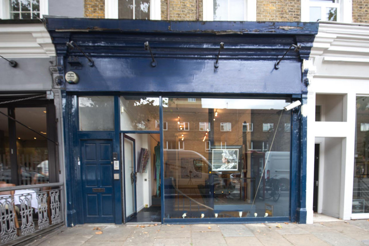 Storefront listing Renowned Gallery on Kings Road in Chelsea, London, United Kingdom.