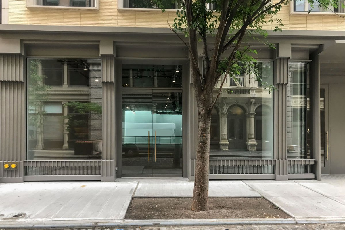 Storefront listing New Retail Space on Wooster Street in SoHo, New York, United States.
