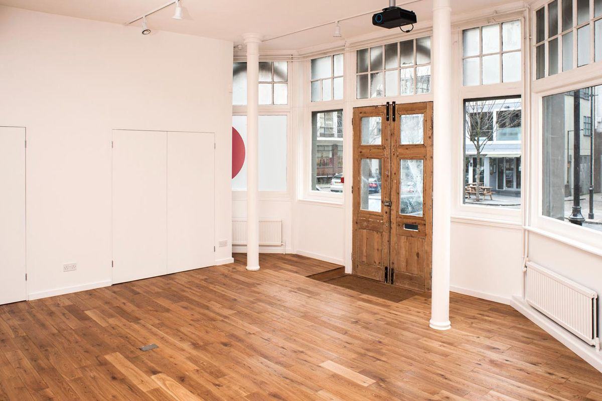 Storefront listing Pop-Up Art Space in Farringdon in Clerkenwell, London, United Kingdom.