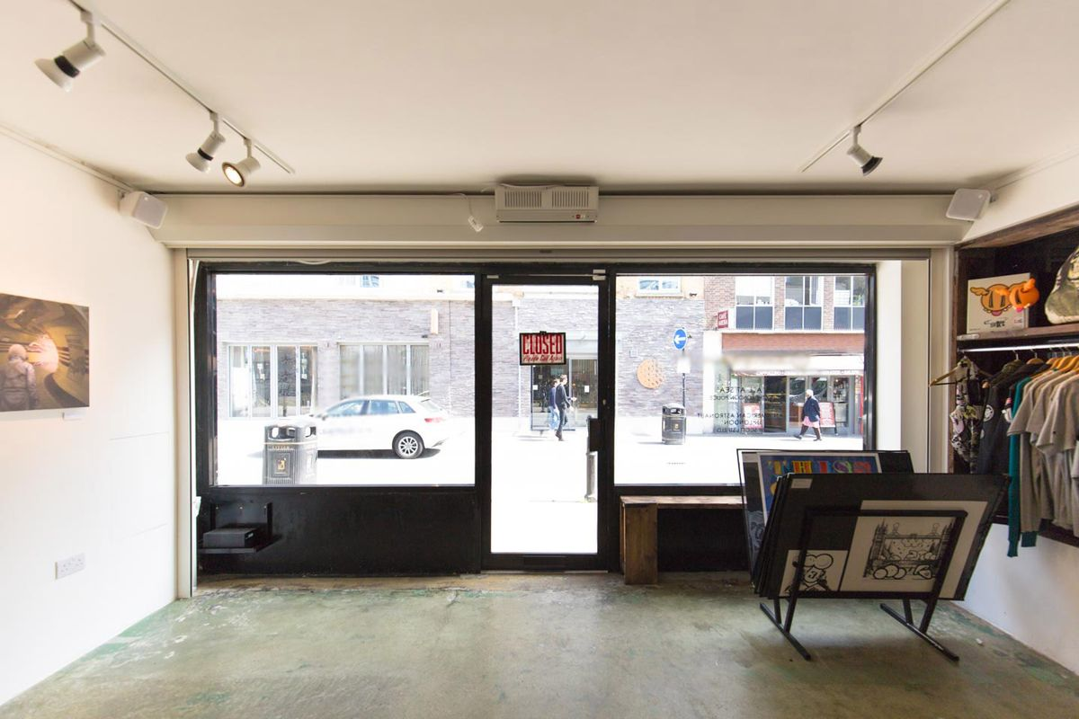 Storefront listing Pop-Up Gallery in East London in Whitechapel, London, United Kingdom.