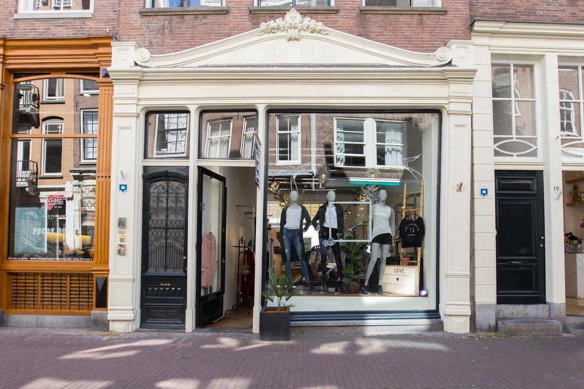 Storefront listing Pop-Up Boutique in Nine Streets in De 9 Straatjes, Amsterdam, Netherlands.